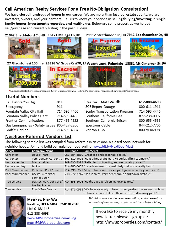 MWUproperties.com Fountain Valley Real Estate Newsletter May 2018